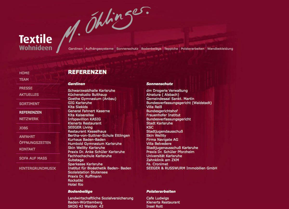 Textile Wohnideen   M. Öhlinger   Referenzen